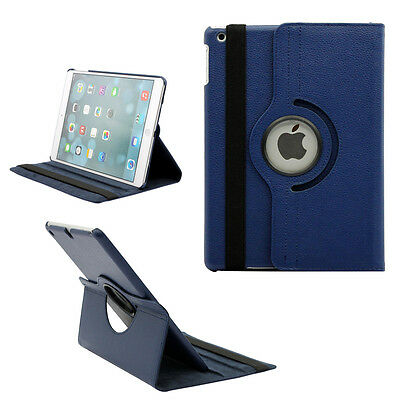 DARK BLUE  iPad Case Cover Smart Leather Rotating