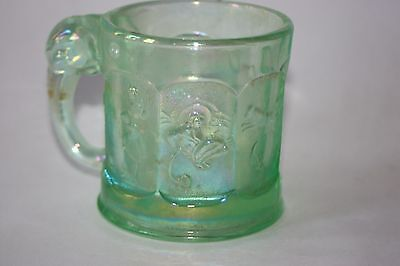 Imperial Depression Glass Green Child's Nursery Rhyme Mug/cup Elephant Handle