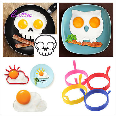 Silicone Skull Egg Fried Frying Mould Funny Breakfast Pancake Mold Ring FE