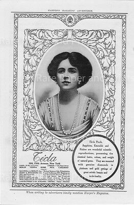 1912 Tècla Gems Jeweler Illustrated Antique Original Harpers Magazine Print Ad