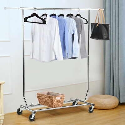 Heavy Duty Commercial Clothing Rolling Collapsible Rack Garment Rack,Chrome