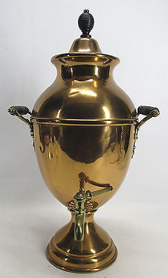 Antique Art Nouveau Large Copper & Brass Handled Cold Water Tea Urn Samovar  yqz