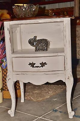 Single Drawer French Provincial Nightstand / Side Table Painted Distressed