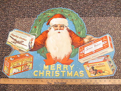 NABISCO '47 Santa Claus Christmas cookie store sign Mickey Mouse airplane circus