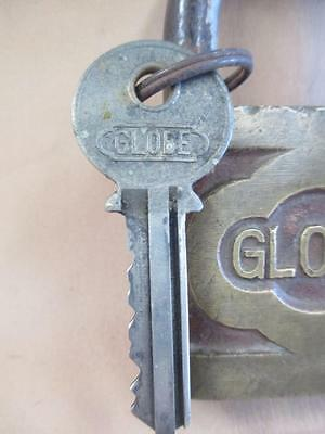 Padlock and key, brass and iron, Globe, Vintage
