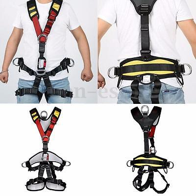 Full Body Safety Rock Climbing Arborist Tree Rappelling Harness Seat Belt Black