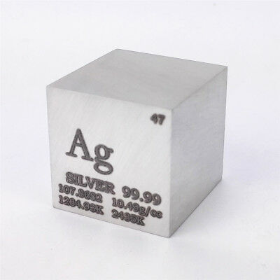 1 inch 25.4mm Pure Silver Metal Cube 99.99% 171g Marked Element Periodic Table