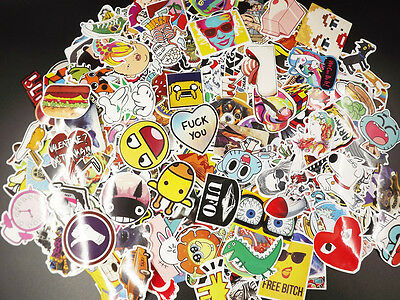 100 Random Skateboard Stickers Vinyl Laptop Luggage Decals Dope Sticker Lot Mix