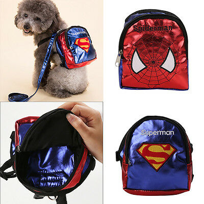 Small Pet Bag Saddle Backpack Travel Carrier Food For Dog Puppy Cats With Leash