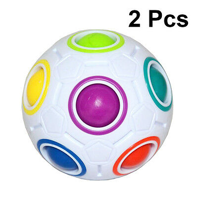 2X Creative White and White Spheric Ball Shaped Magic Cube Puzzle Twist Game Toy