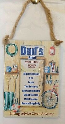DADS SHED - HOUSE DOOR PLAQUE SIGN SHED Birthday Christmas Man Cave Workshop