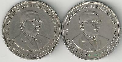 2 HIGHER DENOMINATION 5 RUPEE COINS from MAURITIUS (1987 & 1992)