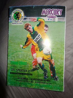 HORSHAM  V WIVENHOE 2000/1  RYMAN LEAGUE   Football Programme PP