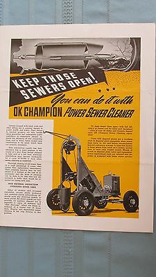 1930's Champion Power Sewer Cleaner Machinery Brochure-Hammond Indiana