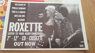 ROXETTE Listen To Your Heart/Dangerous UK magazine ADVERT/CLIPPING  8x6 inches