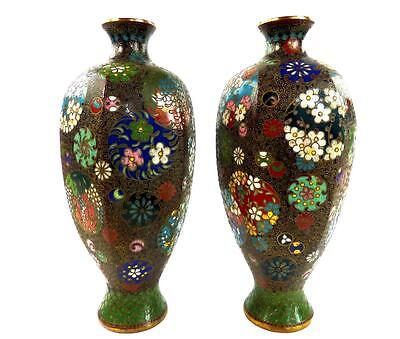 Pair Antique Japanese Meiji Cloisonne Hexagonal Vases