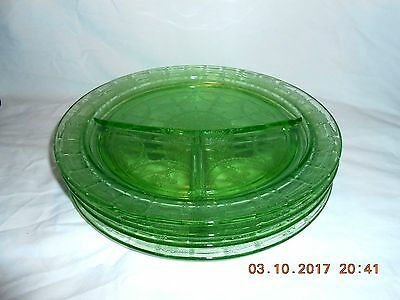 Anchor Hocking Green CAMEO Ballerina Depression Glass 4 Grill Plates VG Cond.