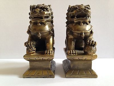 Antique Pair Of Chinese Lion Foo Fu Dog Statues