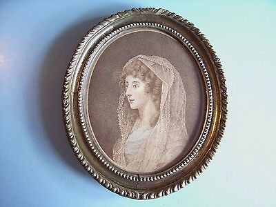 "SMALL ANTIQUE C18th GEORGIAN PRINT BARTOLOZZI ""COUNTESS COWPER"" BRASS FRAME 1798"