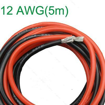 New 12 AWG (5m) Gauge #A Silicone Wire Flexible Stranded Copper Cables for RC