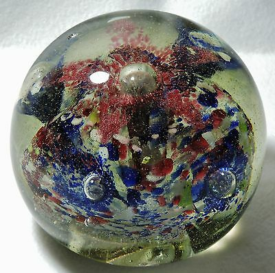 Antique Large Art Glass Paperweight -  Red White And Blue