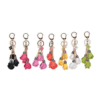 Leather Flowers Keyring Charm Pendant Purse Bag Key Ring Chain Keychain GiftGNUS