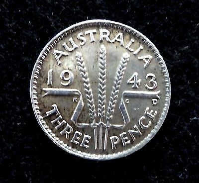 Australia 1943-D Silver 3 pence WWII Coin
