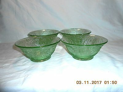 "Tiara Glass Chantilly Green Sandwich Pattern 4 Soup Salad Cereal Bowls 5 1/2"" EX"