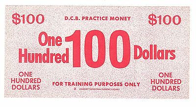 1960's DECIMAL CURRENCY BOARD, ONE HUNDRED 100 DOLLARS PRACTICE MONEY, AMC