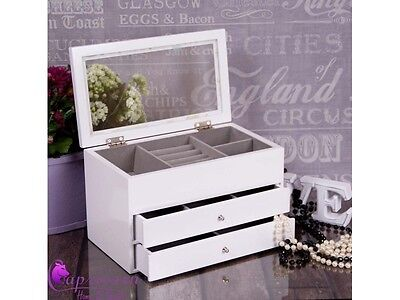 White Wooden Jewellery Box Display Drawer Glass Lid New Perfect Gift Xmas