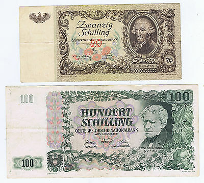 AUSTRIA 20 SHILLINGS of 1950 PICK 129 & 100 SHILLINGS of 1954 PICK 133 LITE CIRC