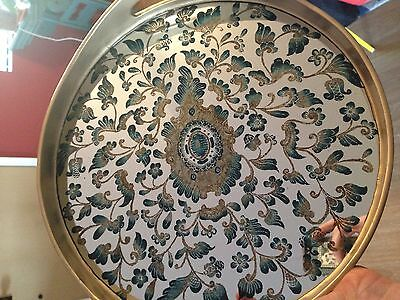 "Robert M Weiss Reverse Painted mirror Tray Peru Multi Color Gold 13"" round"