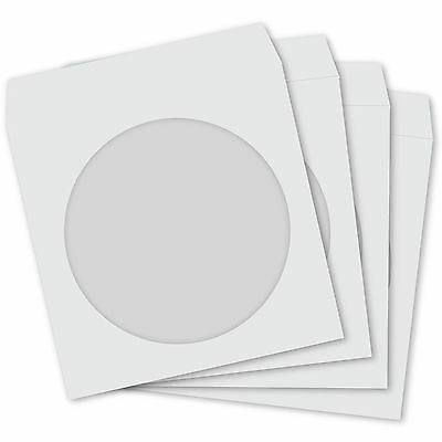 100 CD Paper Sleeves White with Window and Flap - 100 pack Cover Case 100GSM