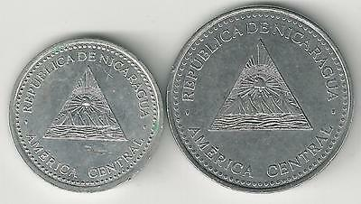 2 DIFFERENT COINS from NICARAGUA - 10 CENTAVOS & 1 CORDOBA (BOTH DATING 2007)