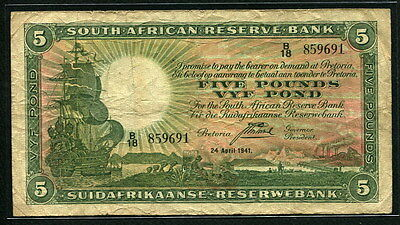 South Africa 1933-1944, 5 Pounds, P86b, Fine