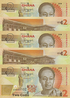 LOT, Ghana 37Ab 2 Cedis (06.3.2013) x 5 Pieces UNC
