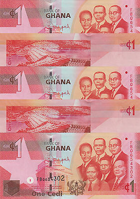 LOT, Ghana p37d 1 Cedi (06.3.2013) x 5 Pieces UNC