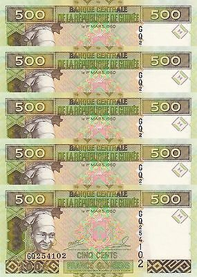 LOT, Guinea 500 Francs (2006) p39a x 5 Pieces UNC