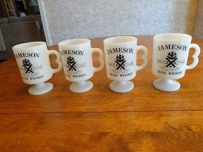 4 Vintage Jameson Irish Whiskey Milk Glass Mugs
