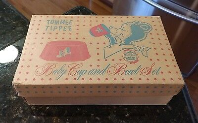 Vintage 1950s Yellow Tommee Tippee Baby Cup & Bowl Feeding Set With Original Box