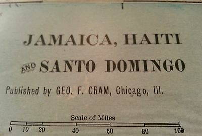 "JAMAICA HAITI Map 1902 Antique Original Negril FINE 14 1/2""x11"" Vintage MAPZ156"