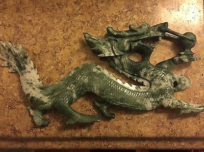 Large Antique Hand Carved Chinese Jade Dragon Statue