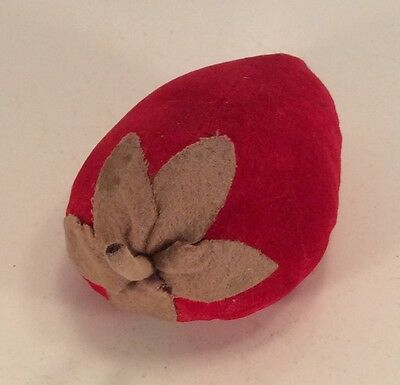 "Large Antique Vintage Velvet 4"" Strawberry Pin Cushion Large"