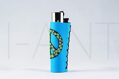 1x Clipper Leaves Refillable Full Size Lighter With Rubber Cover Peace Blue