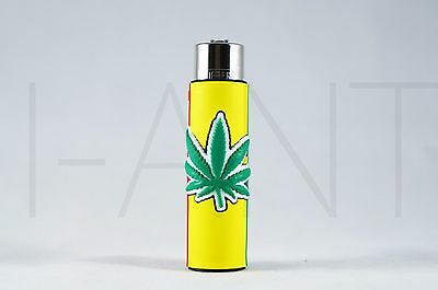 1x Clipper Leaves Refillable Full Size Lighter With Rubber Cover Green Yellow R