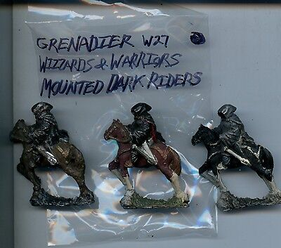 Grenadier W27 Wizards and Warriors Mounted Dark Riders X3 Painted Miniatures