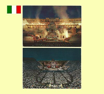 2 - 1960s Verona Veneto Italy - Roman Arena Opera At Night Postcards - VG+