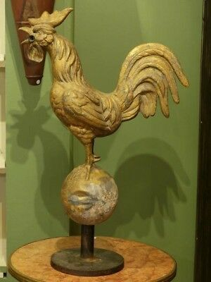 19th century antique French weathervane rooster - gold