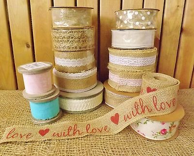 Natural Hessian Jute Lace & Linen Ribbon Wedding Bouquet Trim Sewing Crafts 1 mt