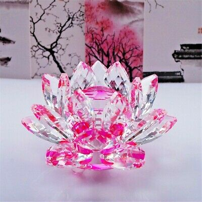 Large Pink Crystal Lotus Flower Ornament With Gift Box  Crystocraft Home Decor